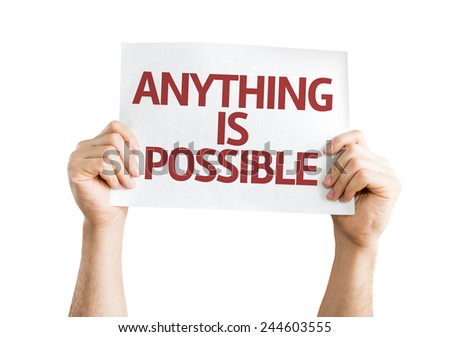 Anything is Possible card isolated on white background - stock photo