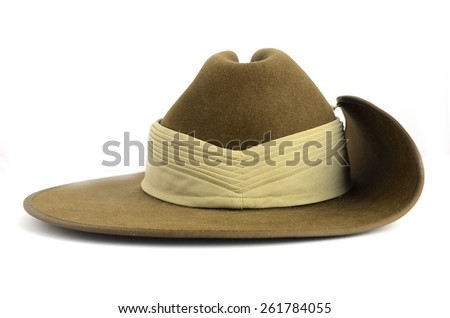 ANZAC army soldier slouch hat on white background.  - stock photo