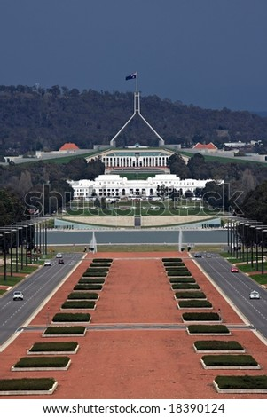 Anzac Avenue and Parliament House - Canberra - stock photo