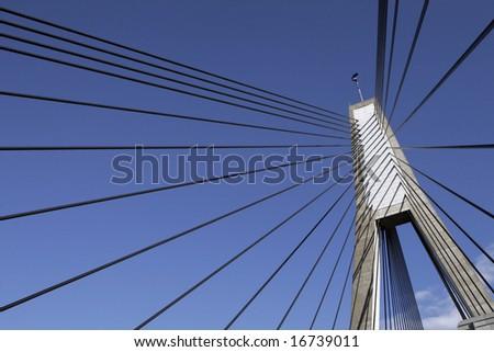 Anzac Bridge, Sydney, Australia: ANZAC Bridge is the longest cable-stayed bridge in Australia, and amongst the longest in the world. - stock photo