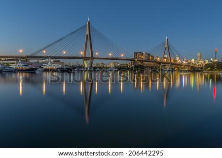 Anzac Bridge, Sydney, Australia - Twilight Panorama, Reflections and Yachts - stock photo