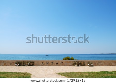 Anzac Cove Memorial in Canakkale Turkey. Very historical place for Turkish, British, Australian and New Zealander people. - stock photo