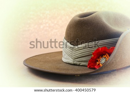 ANZAC Day, April 25, Australian army slouch hat with applied faded retro vintage style filters, with copy space.  - stock photo