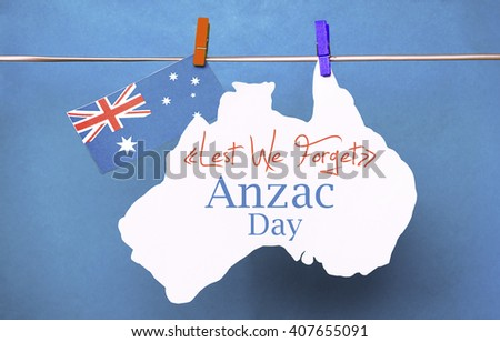 Anzac Day, April 25, public holiday with pegs on a line message greeting on white Australian maps with Aussie flag red heart  Australian flag. Lest We Forget. retro filters light effects. - stock photo