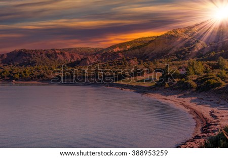 Anzac Military Cemetery in Gallipoli Peninsula at sunset - Canakkale , Turkey - stock photo