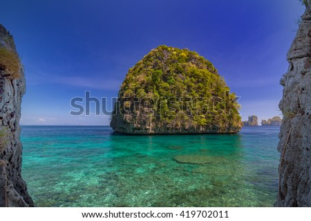 Ao Lo sama is snorkeling point famous tour lagoon in Phi Phi Islands, Krabi , Thailand  - stock photo