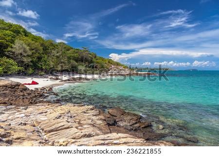 Ao Nuan Beach on the island of Koh Samet in Thailand - stock photo