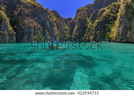 Ao Pi Leh is snorkeling point famous tour lagoon in Phi Phi Islands, Krabi , Thailand  - stock photo