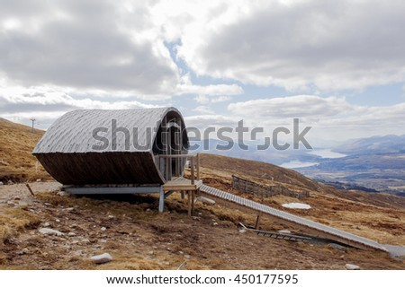 AONACH MOR, NEVIS RANGE, FORT WILLIAM, SCOTLAND, UK - 14 April 2016: The start gate of the Off  Beat Downhill mountain biking track