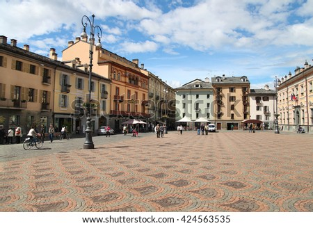 AOSTA, ITALY - MAY 25: View of the Town square of Aosta on May 25, 2015. Italy - stock photo
