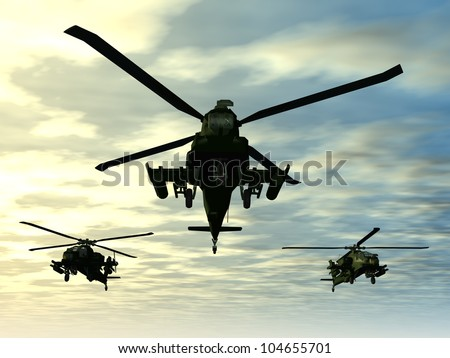 Apache Helicopter Computer generated 3D illustration - stock photo