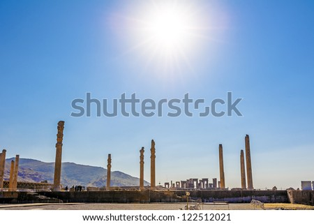 Apadana palace built by Darius the Great on western side of Persepolis complex in Shiraz, Iran.