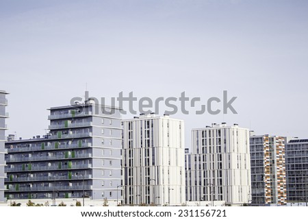 Apartament building in city, business and industry