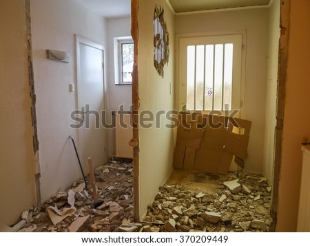 Apartment before refurbishing and renovation  Old house under construction and restoration - stock photo