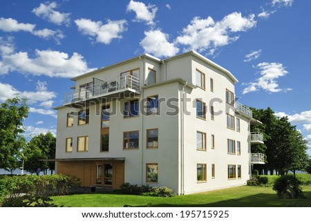 Apartment Block in Sweden. - stock photo