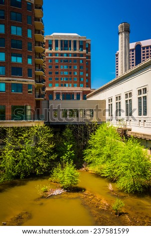 Apartment building along the James River in Richmond, Virginia. - stock photo