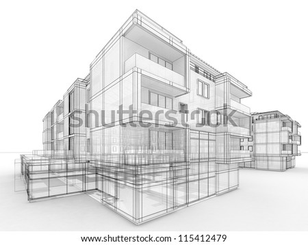 apartment building design concept, architects computer generated visualization in drawing style - stock photo