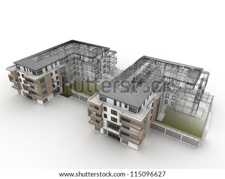 apartment building design progress architecture visualization