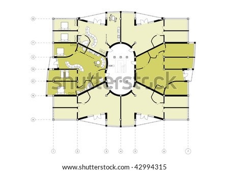 Apartment Building Floor Plan CAD Architectural Project Blueprint