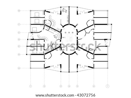 Apartment Building Floor Plan CAD Architectural Project Blueprint isolated black on white