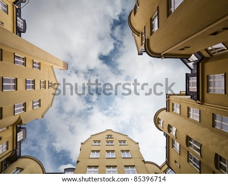 Apartment building from Low angle view - stock photo