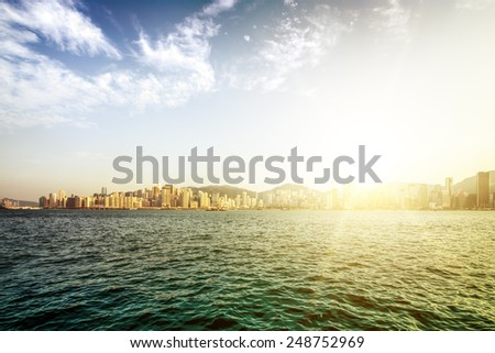 Apartment building. Hong Kong. China. Sea coast. - stock photo