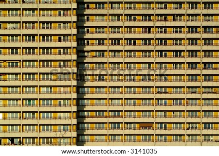 apartment building in east berlin - stock photo