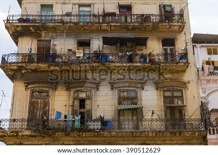 Apartment Building in Havana - stock photo