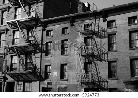 apartment building in new york - stock photo