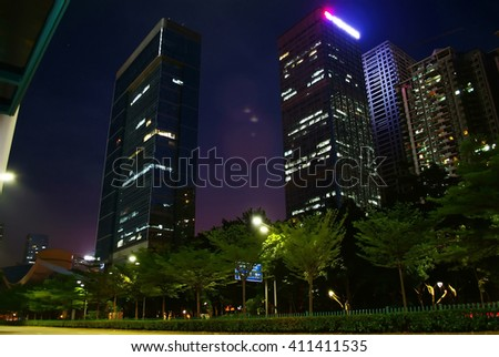 apartment building in night - stock photo