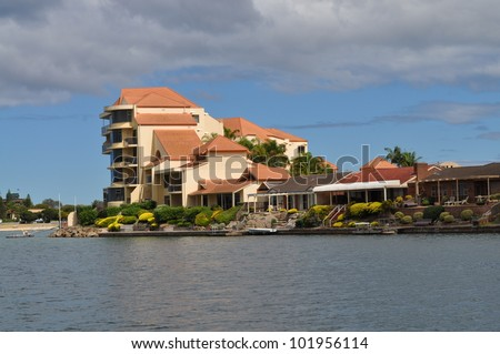 Apartment building on the lake. House. Australian house