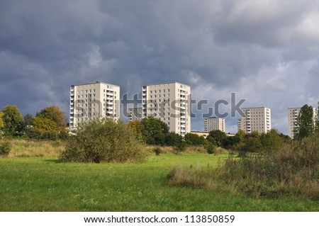 Apartment building, typical architecture in a swedish suburb from the 1960's. - stock photo