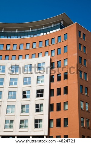 apartment building windows closeup
