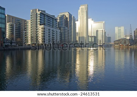 Apartment buildings at South Dock in London, England - stock photo