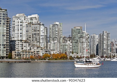 Apartment buildings by the sea at Yaletown in Vancouver