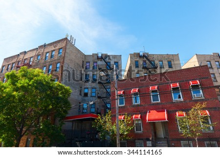 apartment buildings in Hunts Point, Bronx, NYC - stock photo