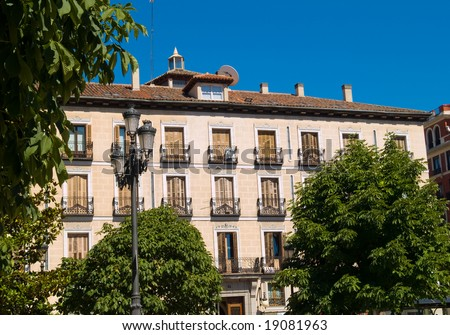 Apartment buildings in Madrid, Spain.
