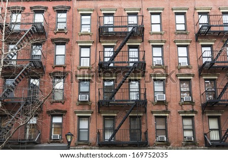 apartment buildings in New York City - stock photo