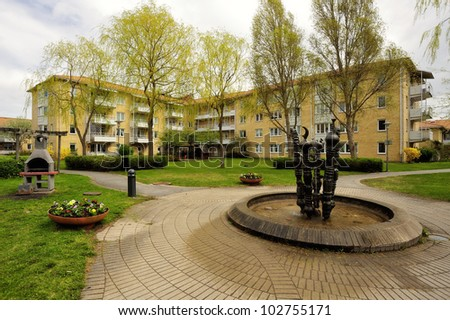 Apartment buildings in the Stockholm area. - stock photo