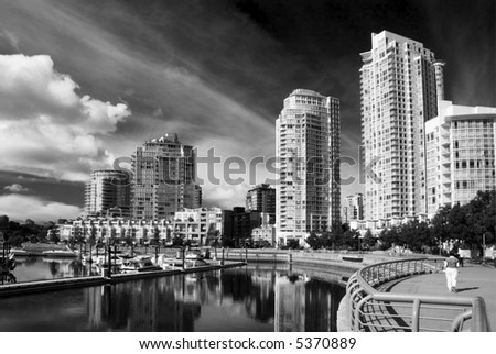 Apartment buildings in Yaletown, Downtown Vancouver. British Columbia - stock photo
