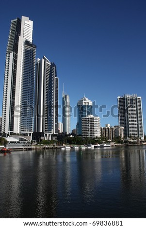 Apartment buildings - Surfers Paradise town in Gold Coast region of Queensland, Australia