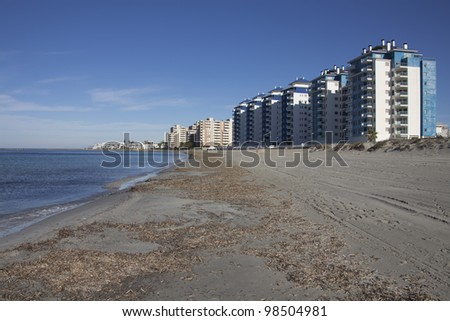apartment buildings typical tourist on the beach of the Mediterranean coast