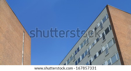 Apartment buildings with blue sky