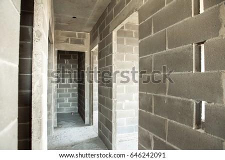 Apartment Construction Aerated Concrete Blocks Cement Stock Photo ...