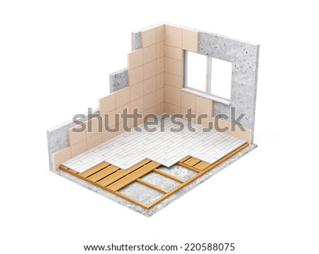 Apartment Construction Concept. Empty Room Interior Under Construction isolated on white background - stock photo