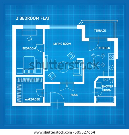 Apartment floor plan blueprint furniture top ilustracin de apartment floor plan blueprint with furniture top view illustration malvernweather Images
