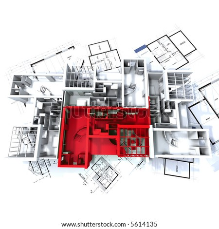 Apartment highlighted in red on a white architecture mockup on top of architect's plans - stock photo