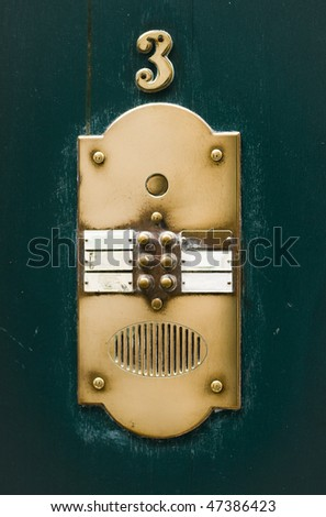 Apartment House Doorbell Plate. Number 3 - stock photo
