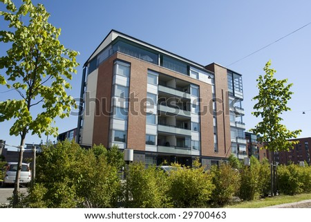 Apartment house in Finland - stock photo