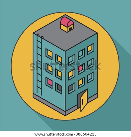Apartment house. Isometric illustration house. Icon - stock photo
